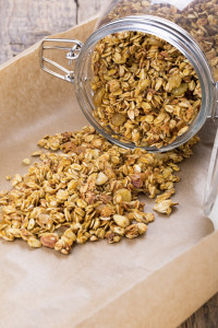 Homemade muesli. Pumpkin granola in a glass jar.